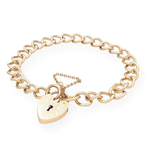 Jollys Jewellers Women's 9Carat Yellow Gold 7.25' Curb Bracelet w/Patterned Heart Padlock Clasp