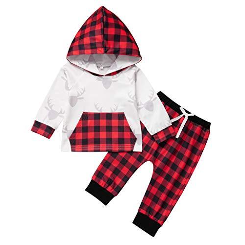 WEXCV Neugeborenes Baby Mädchen Junge Weihnachten Outfit Warm Hoodie T-Shirt Top Langarm Kapuzenpullover + Weihnachtsmuster Drucken Hose Outfits Set Kleinkind Kinder Kleidung Set 0-24 Monate