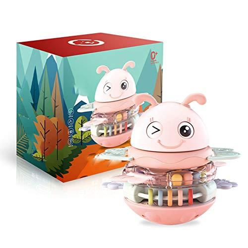 VLERHH Tumbler Doll, Sicherheit Entzückendes Blinkendes Auge Tumbler Doll Baby Beißring Spielzeug Für 6-12 Monate Kleinkind-15 * 15 * 11Cm,Rosa