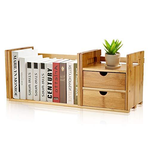 Libreria da tavolo allungabile in bambù con 2 cassetti, organizer da tavolo in legno di bambù naturale, organizer per libreria, mini custodia per libri fai da te con 2 cassetti