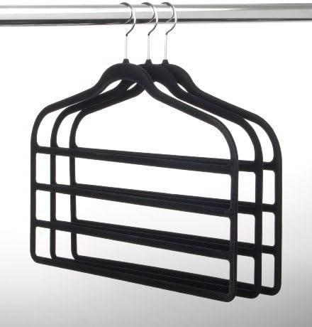 HangerShop Ultra-Slim Velvet 4 BAR Pant Daily bargain sale of 3- - San Francisco Mall Hangers Blac Set