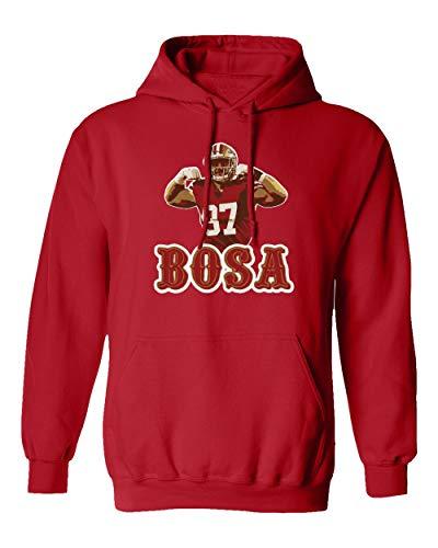 Baku Apparel San Francisco Fans Nick Bosa Bosa PIC Men's Hooded Sweatshirt (Red, X-Large)