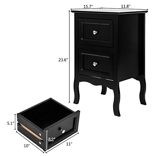 Subobo Bedside TablesChairside End Table Nightstand With 2 Drawer For Living RoomSide Table (Size:23.62 X 15.75 X 11.81; Color:Black)