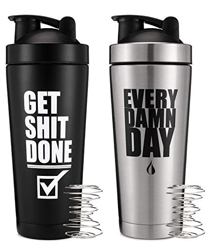 2 pack 24oz Insulated Stainless Steel Shaker Bottle Double Walled Vacuum Protein Shaker Cup Get It Done amp Every Day