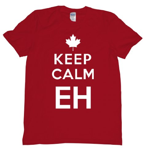 Keep Calm Eh Canada Maple Leaf Mounties Uniform Tee Shirt for Our Neighbors Up North, Carry on Mens XXL red U