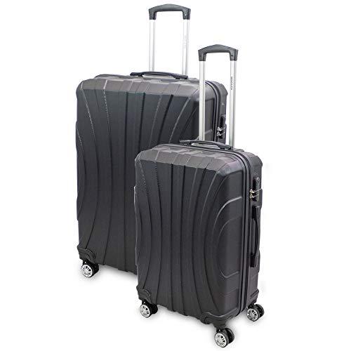 BERWIN® Kofferset L + XL 2-teilig Reisekoffer Trolley Hartschalenkoffer ABS Teleskopgriff Modell Strike (Schwarz)