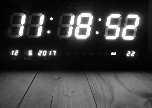 IMC LED Wanduhr mit Zahlen weiß rechteckig digital Uhr Datum Temperatur Multi S