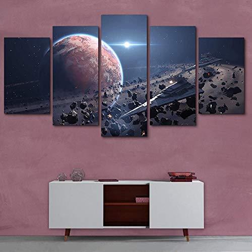 Arxyd 5 panelen moderne slaapkamer woondecoratie hd-print afbeelding muur kunst 5 panelen India Ganesh canvas decoratie huis modern modulair poster woonkamer kunst kantoor 200*100 CM A3