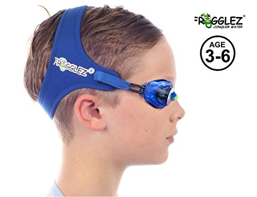 Frogglez Kids Swim Goggles with Pain-Free Strap   Ideal for Ages 3 – 6 in Swimming Lessons   Leakproof, No Hair Pulling, UV Protection   Swimming Goggles for Kids Recommended by Olympic Swimmers