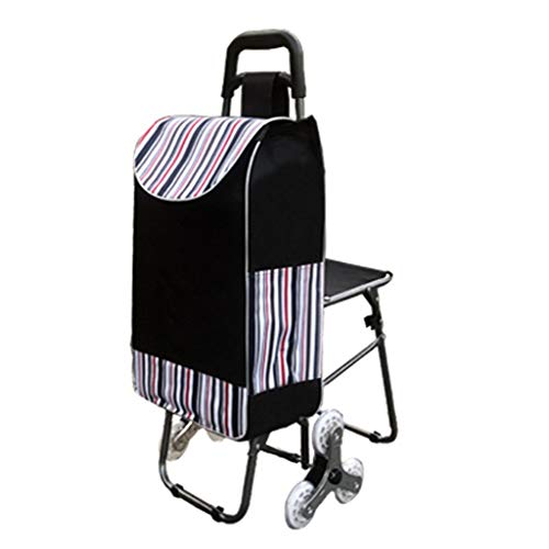 Dongyd Opvouwbare Winkelwagen Voor De Ouderen Met Stoel Lichtgewicht Grote Capaciteit Wieltje Zwart Push Cart Bag 6 Wielen