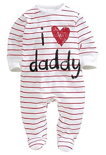 Newborn Baby Pure Cotton Long Sleeve Romper I Love Mommy Daddy Footed Jumpsuit (0-6 Months, Father Print)