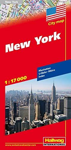 New York Stadtplan 1:17 000: Manhattan, U-Bahn, Index (Hallwag Stadtpläne)