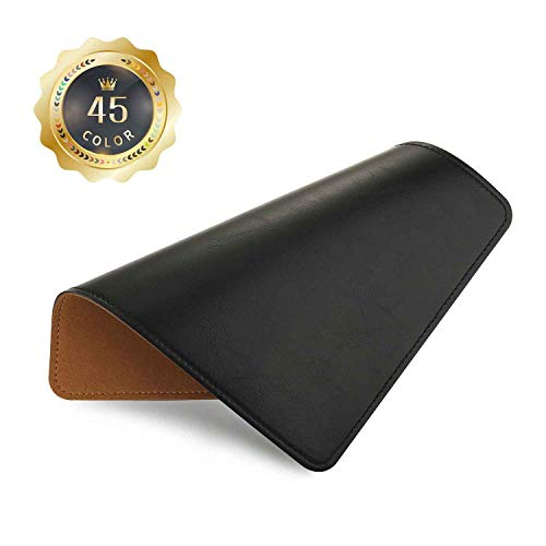 PU Leather Mouse Pad with Stitched Edge Micro-Fiber Base with Non-Slip, Waterproof, Mouse Pad for Computers, Laptop, Office & Home,1 Pack, 8inch11inch (Black 3.0)