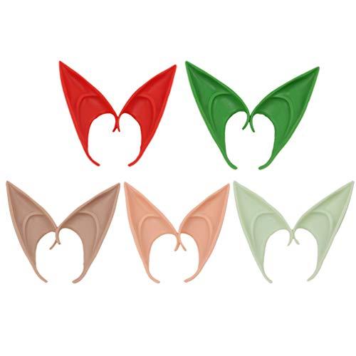 ABOOFAN 5 Pares de Orejas de Duende Navideño Hada Duendecillo Orejas de Duende Elfo Orejas de Vampiro Disfraz de Fiesta de Anime para Halloween Mascarada de Navidad Disfraz de Escenario