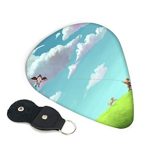 VOROY Ilustración de Kid Flying Kite Púas de guitarra (6 piezas en un juego) Púa para guitarra acústica de 0,96 mm de grosor para regalo para amigos
