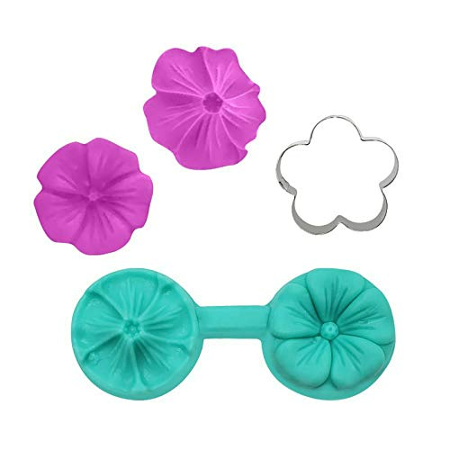 Creative Flower Sugar Art Mold, Silicone Blossom Mould and Cutter, Silicone Mold Cake Handmade Baking Tool DIY Tool for Decorating Cakes, Chocolate, Candy, Baking, etc B