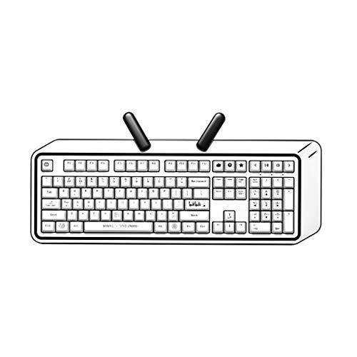 Mechanische Gaming-Tastatur im Comic-Stil, 104 Anti-Ghosting-Tasten, kabellos, Dual-Modus mit blauem Schalter für PC-Gamer, Low Profile