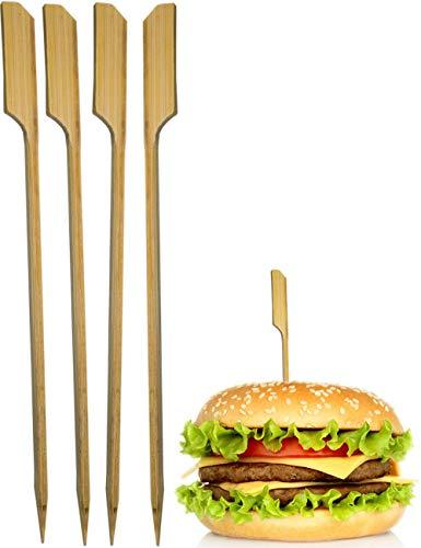 HomeTools.eu® - 25x Hamburger-Spieße, Sticks, BBQ Grill Cheese Burger, Holz-Spieße aus Bambus, Fahne, Fixieren und halten den Burger zusammen, 15cm, 25 Stück