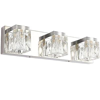 RALBAY LED Modern Bathroom Vanity Lights 5 Lights Crystal Glass Stainless Steel Bathroom Vanity Lights Fixtures Over Mirror LED Modern Crystal Glass Vanity Lights