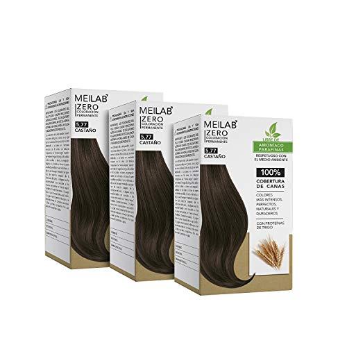 MEILAB | Permanente Haarfarbe ohne Ammoniak - 3er Pack - Tabak Kastanienbraune Haartönung #5-77