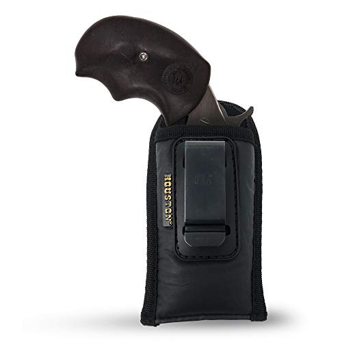 IWB Mini Revolvers Holster - by Houston | North American Arms | ECO Leather Concealed Carry Soft Material | Suede Interior for Protection | Fits: Black Widow .22 Mag (Ambidextrous)