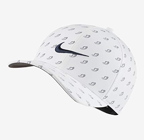 Nike New 2020 Aerobill Classic 99 Print White/Obsidian Blue Fitted S/M Golf Hat