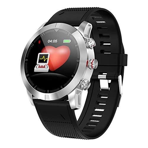 NIAY - Smartwatch da Uomo e Donna, Sportivo, Fitness, pedometro, cardiofrequenzimetro, Impermeabile, misurazione della Pressione sanguigna, Bluetooth, Bracciale Intelligente, Colla Argentata.