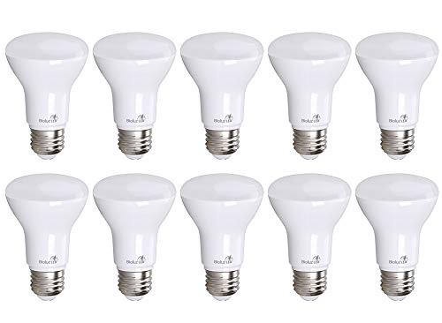 10 Pack Bioluz LED BR20 LED Bulb Dimmable 7w (50w Replacement) 2700K Bright Warm White 550 Lumen Smooth Dimmable Lamp - Indoor / Outdoor UL Listed (Pack of 10)