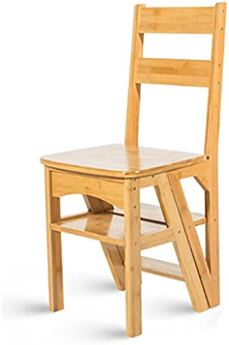RMJAI Bambushaushalts Multifunktions Trittleiter Massivholz Hocker Kind Klappstuhl Dual-Use-Vier-Stufen-Leiter Klettern Hohe Leiter Tritthocker (Farbe   Holz)