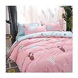 AmDxD Bettlaken, Bettbezug und Kissenbezügen aus Polyester Kaktus Design 3 Pcs Spannbetttuch Bettwäsche-Sets Rosa