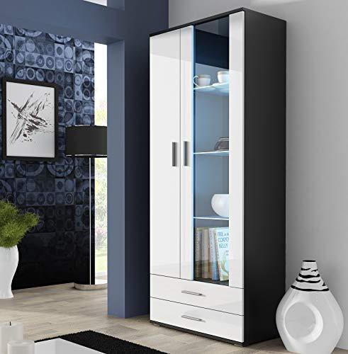 SOH O 2 puertas modernas frontales de cristal brillante LED estantes de vitrina cajones (negro/blanco)