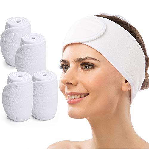 Haarband für Make Up, CNNIK 4pcs Spa Haarband Kosmetik Stirnband Dusche Waschen Gesicht Sport Yoga Verstellbare Haarschutzband mit Klettverschluss (Weiß)