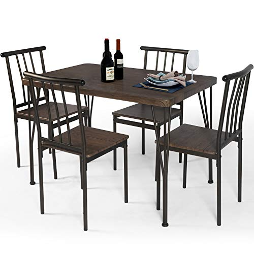 LAZZO 5 Piece Dining Table Set, Wooden Kitchen Table Set with Metal Frame, Rectangular Dining Room Table and 4 Chairs Set for Breakfast Nook,Home, Dinette, Kitchen Studio (Brown)