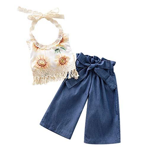 YWLINK Conjuntos NiñA Vestido De NiñA Princesa Sin Mangas Camisola Encaje Borla Top Estampado Girasol Flor De Sol Arriba Camiseta+Traje De PantalóN De Arco Ropa De NiñOs Lindo(Azul,3-4 años/120)