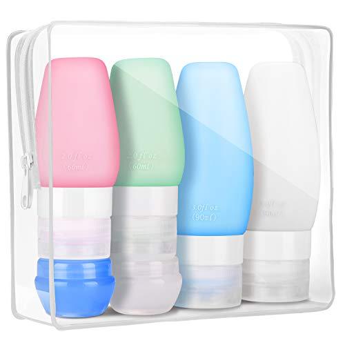 NASHONE Silikon Reiseflaschen Set mit Transparent Kulturbeutel, Handgepäck Kosmetiktasche, Auslaufsicher Reisebehälter für Shampoo Creme Spülung Körperpflege und Andere Flüssige