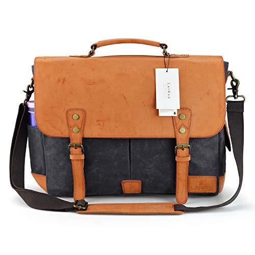 17 Inch Leather Vintage Canvas Messenger Bag - LarKoo Satchel Handbag Casual Shoulder Tote Bags Fit 17' Laptop