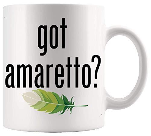 Lustiger Knebel sarkastischer Becher bekam Amaretto Retro Werbung Logo Parodie lustiges Büroplakat weiße Becher Tassen