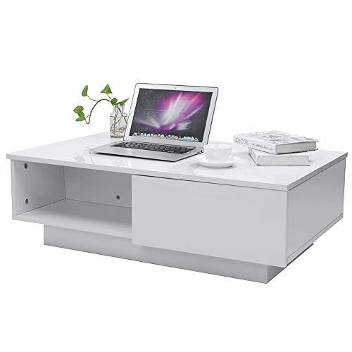 Mesas de café, mesa auxiliar de madera de alto brillo, mesa de té rectangular, mesa de té, teléfono, TV, escritorio, mesa de noche, con cajones de almacenamiento, para sala de esta