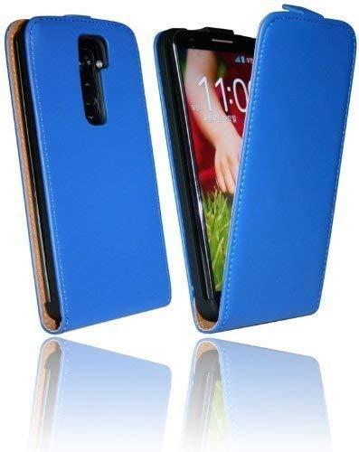 ENERGMiX Handytasche Flip Style kompatibel mit LG G2 D802 in Blau Klapptasche Hülle