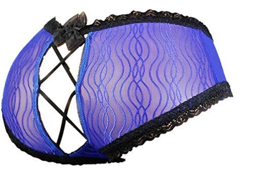 Sissy Pouch Panties Men's Silky lace Bikini Girlie Briefs Underwear Sexy for Men (L, Blue)