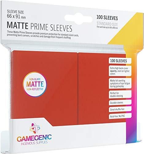 Asmodee - 100 Bustine Protettive Gamegenic per Carte, Giochi di Società, Matte Prime Sleeves Red Pack, Colore Rosso, Opache