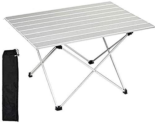 Mesa de Camping Plegable Ligera de Aluminio, Mesa Plegable portátil para Barbacoa de Playa de Campo de Picnic, 3, Plateado-XL