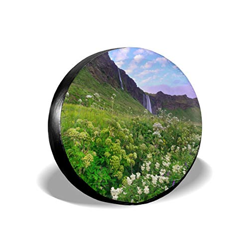 Tire Cover Iceland Morning Scenery Mountains Grass and Flowers Waterfalls Lilac Sky Clouds Title PVC Leather Waterproof Dustproof Universal Trailer Caravan SUV Truck Camper Travel Trailer Accessories