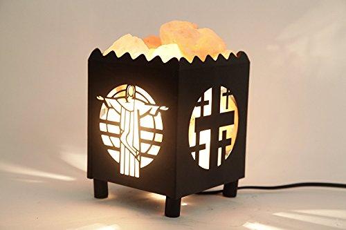Dia Natural Himalayan Salt Lamp in Madonna Design Metal Basket with...