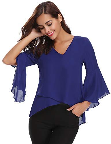 Abollria Damen Chiffon Tunika 3/4 Arm Volant Bluse mit Trompetenärmel Leicht Blusenshirt für Frühling Sommer,Blau,M