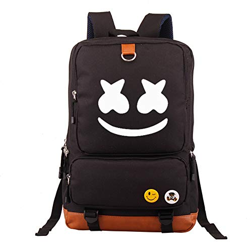 USAMYNA School Backpack for Teens Marshmello Girls Bookbag Boys School Bag Man Travel Daypack 21inch Large Capacity and Durable Rucksack for Kids (Black)