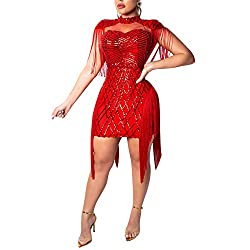 Red Sequins Tassels Mock Neck Party Pencil Dress