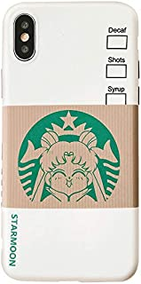 Slim Fit Smooth Soft TPU Sailor Moon Case for Apple iPhone X XS Green Coffee Starmoon Cartoon Protective Shockproof Cute Lovely Fun Unique Japanese Anime Manga Gift Little Girls Teens Kids