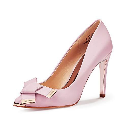 JENN ARDOR Women's Stiletto High Heel Pumps Pointy Toe Leather Bowknot Slip On Bridal Wedding Shoes Pink 7 B(M) US (23.84 CM)
