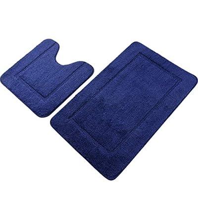 "Pauwer Navy Blue Bath Rug Set 2 Piece 21"" x 34""+20""x 20"" Bathroom Contour Rug Combo Non Slip Microfiber Bath Shower Mat and U-Shaped Toilet Rug"